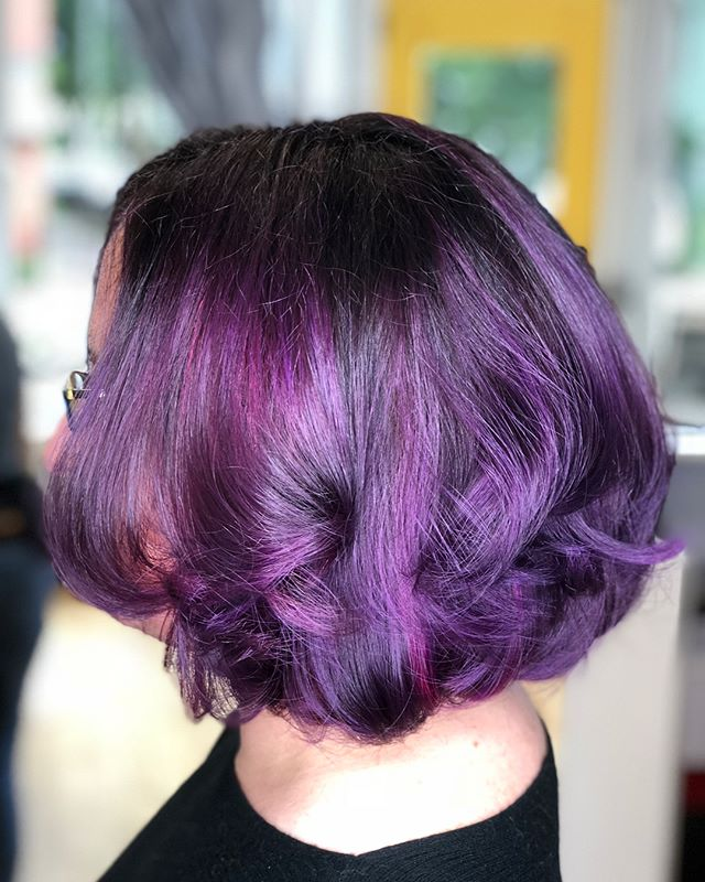 Purple hair, don't care! Gorgeous color done by Jenna #hivehair #thehivehairstudio #eastrock #newhaven #ctstylist #behindthechair #aveda #purplehairdontcare #elumen