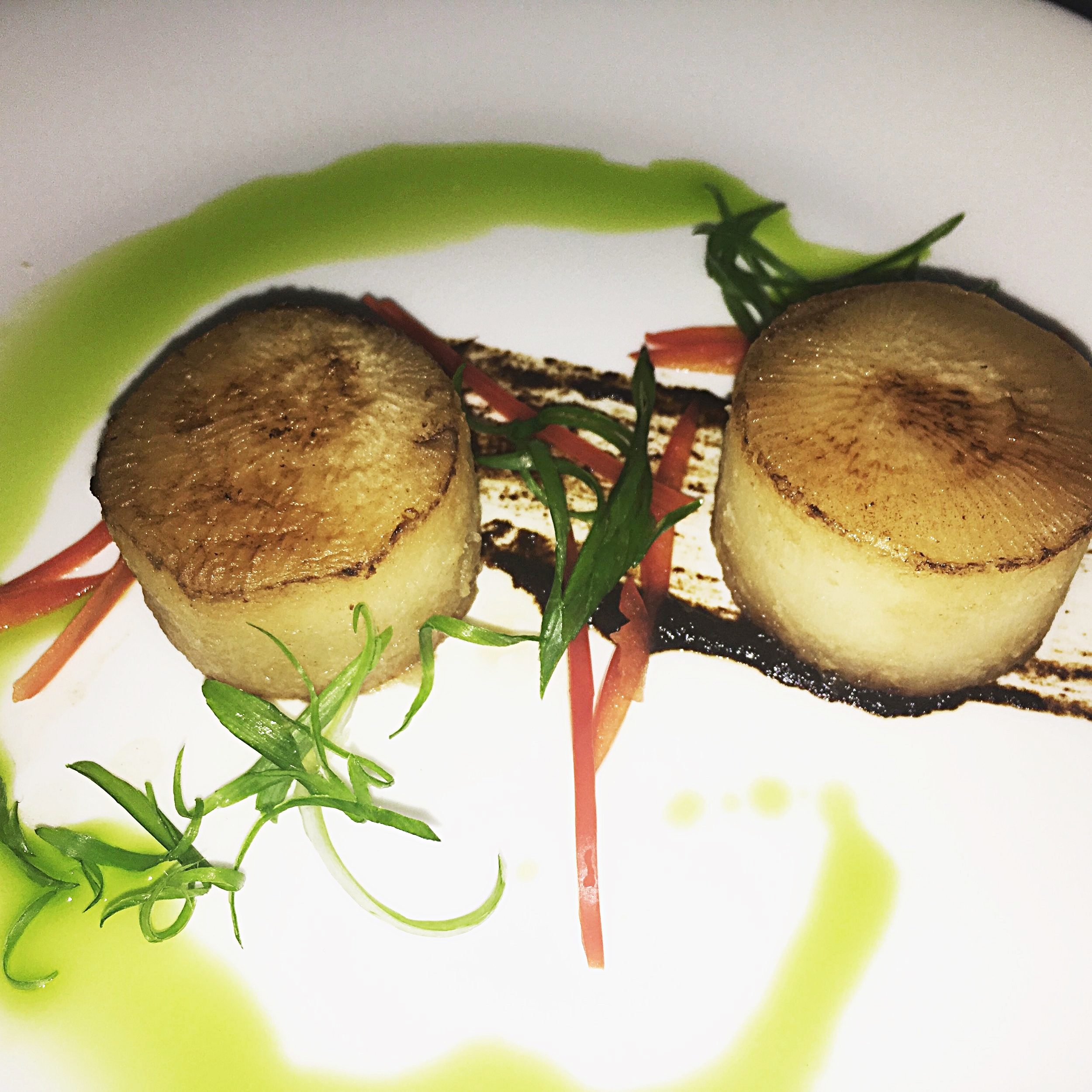 The vegetarian option - Faux Scallops which are actually turnips