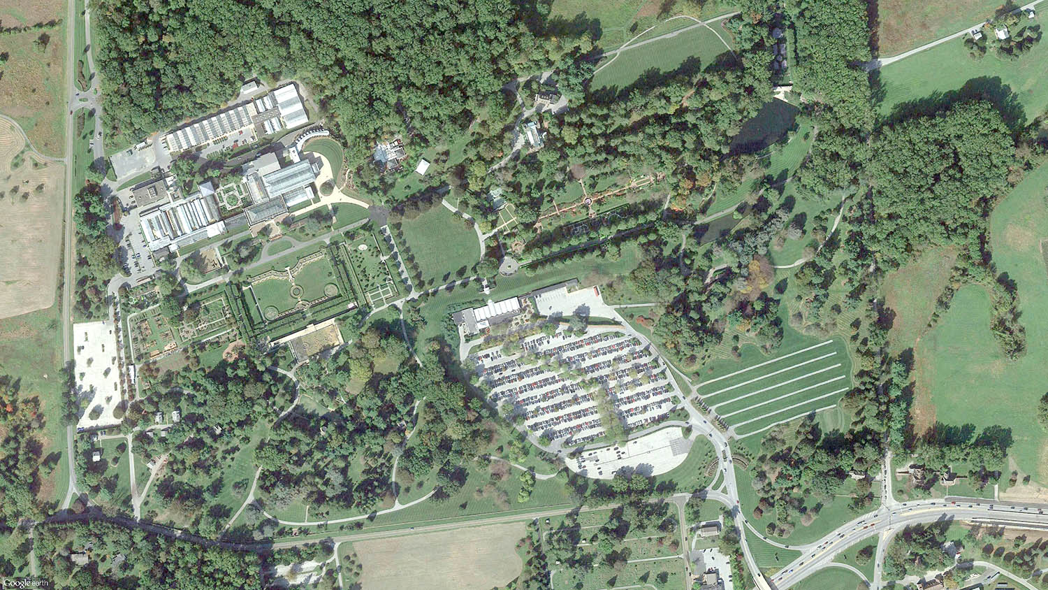 Longwood Gardens - Aerial Photo   (Source: Google Earth)