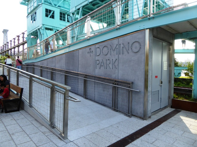 Park entry sign & ramp to elevated walkway