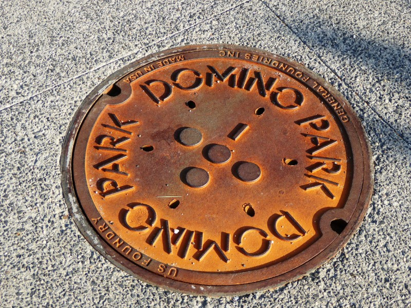 Service pit cover with park logo