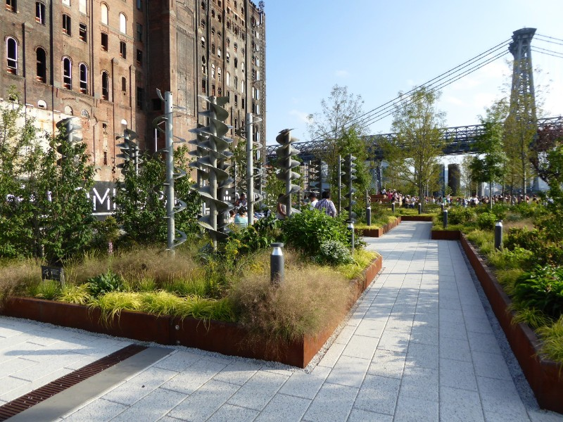 Public art in raised planter beds