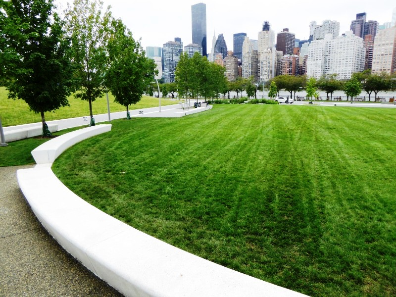 Campus Lawn & view across East River to Manhattan