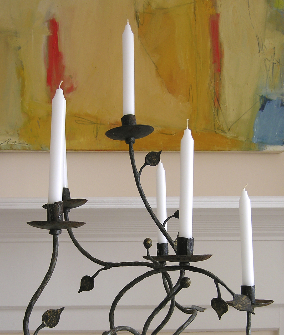 Antique Candelabra, Hand Forged Wrought Iron - Partial View
