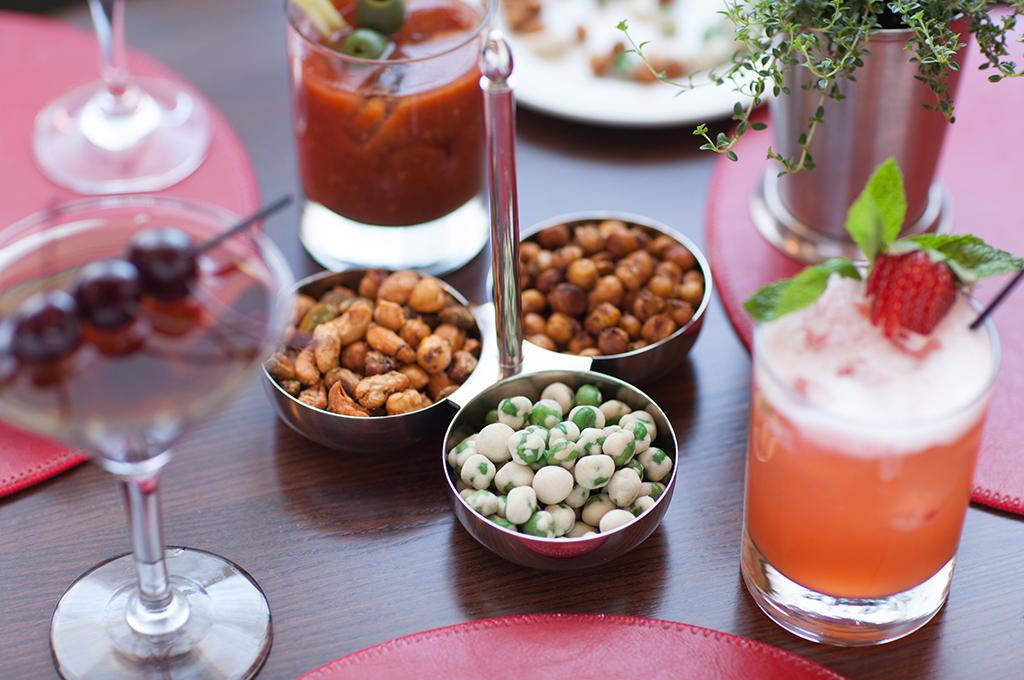 Wasabi Peas, Smoked Spiced Nuts and Drinks at the Tavern at CIA's American Bounty Restaurant