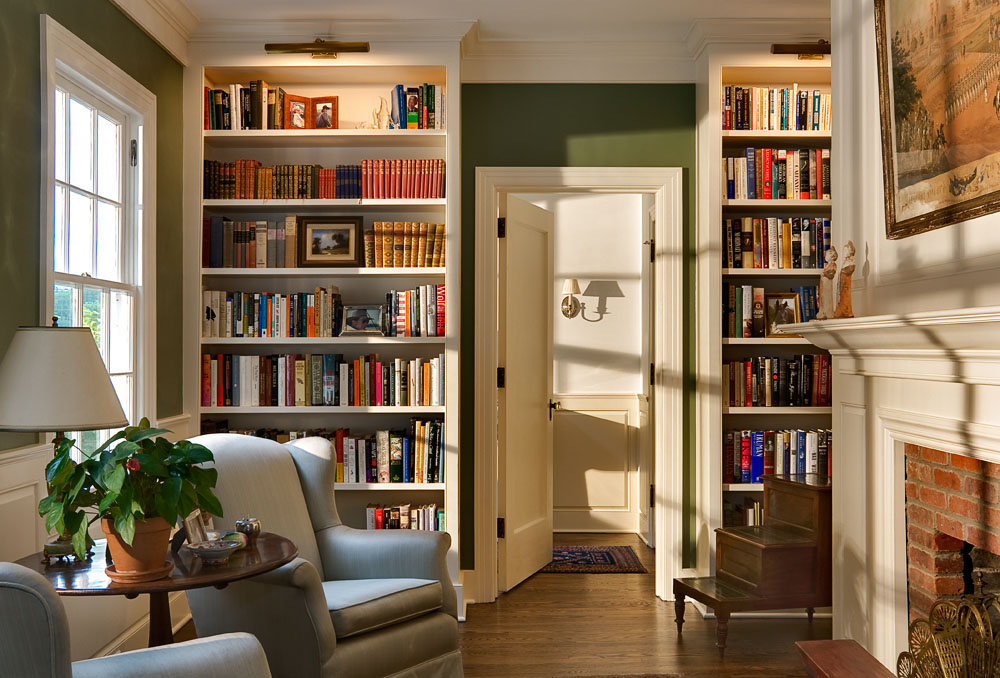 Sitting Room -   Bookcases filled with interesting photos as well as good reads, give a room depth and interest. If there is room for a small fireplace, the small room is complete. Small rooms really don't feel small at all if you can view the world beyond from a comfortable chair.