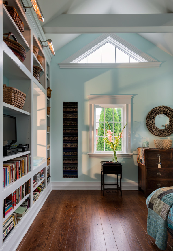 Tall Ceilings and Book Cases -   Architectural details, interesting textures, big windows and tall ceilings ensure a feeling of ample space.