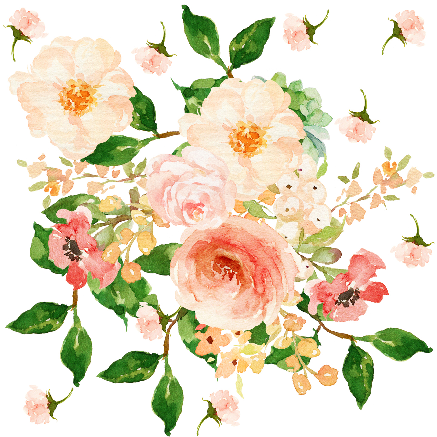 Imagine wrapping a gift in this stunning paper! Floral Peach Delight. Beautiful watercolor flowers in peach, pink, green, yellow. Perfect for home decor, baby bedding and fashion.