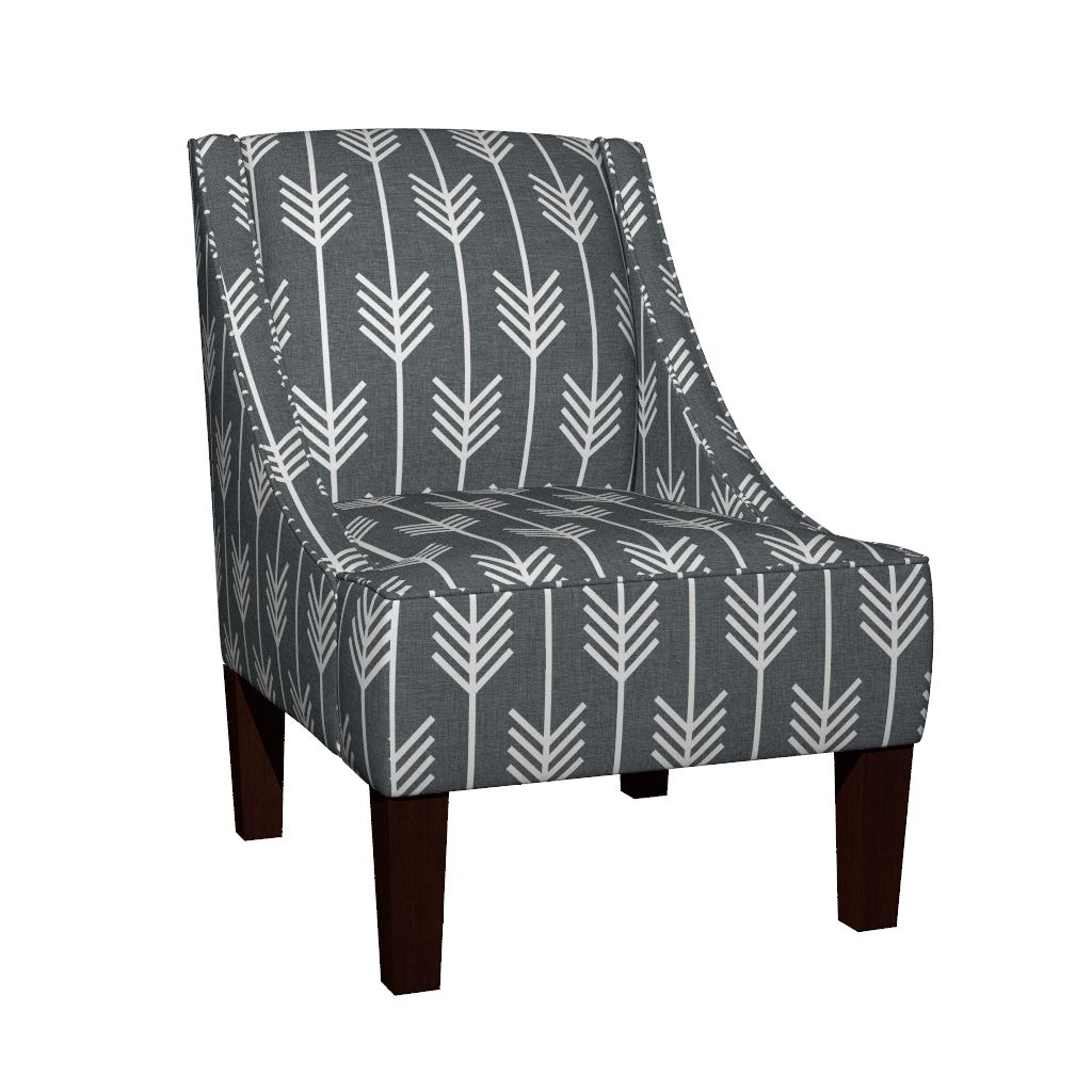 Venda Sloped Arm Chair, Gray Arrows