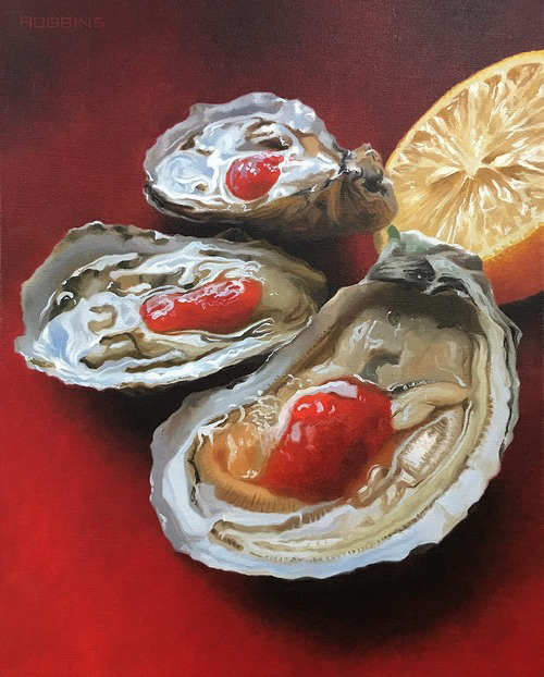 "Red Oysters - 16"" x 20"" Oil on Linen"