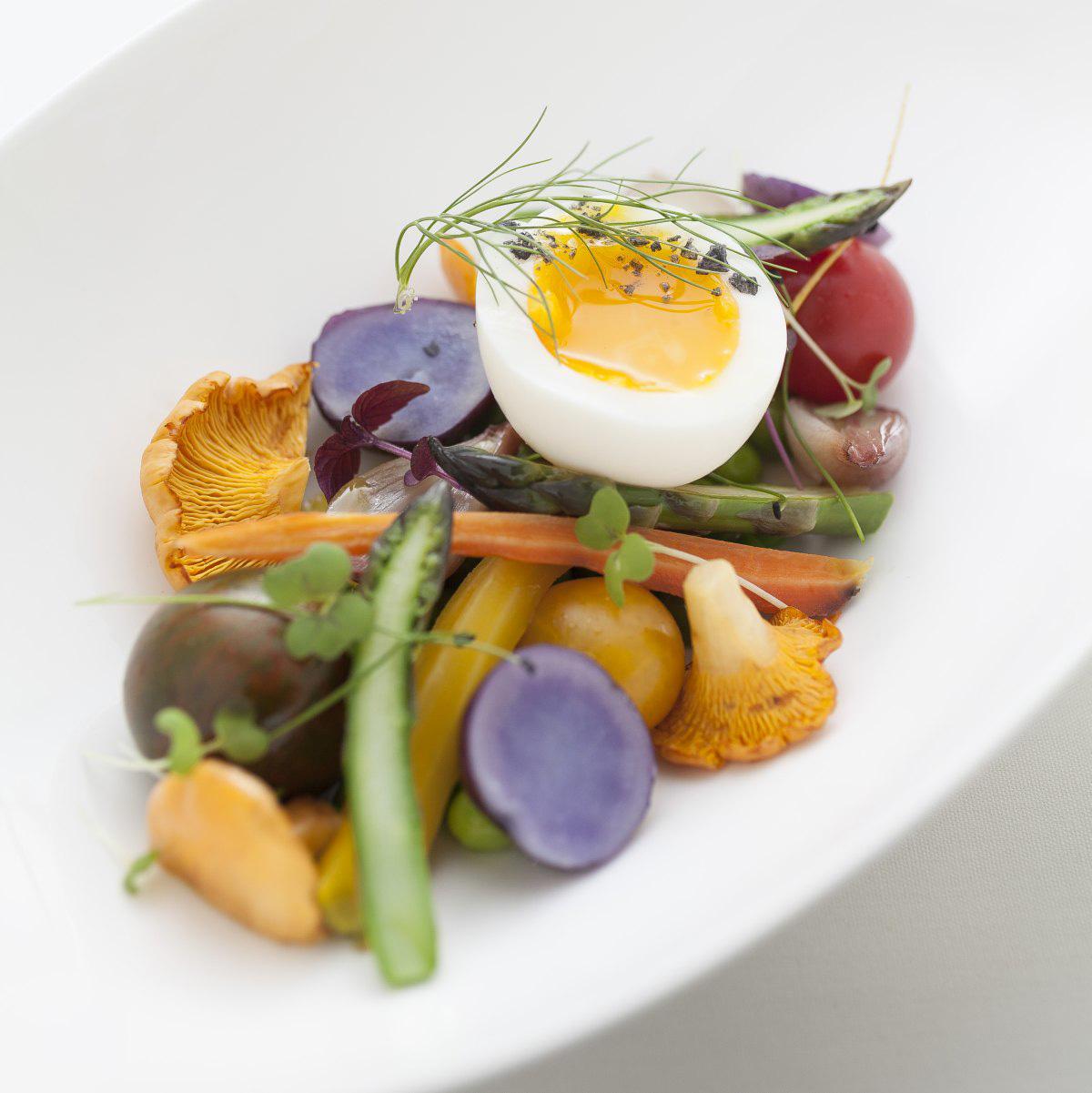 Spring vegetable salad, poached egg, fingerling potatoes and morels