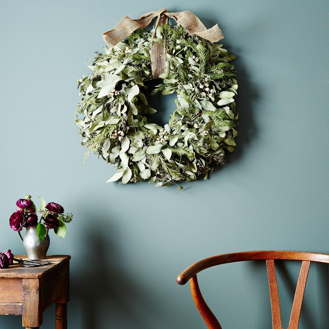 Cedar & Eucalyptus Wreath with Burlap Ribbon