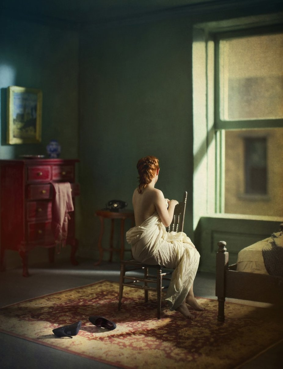 """Green Bedroom (Morning),"" 2013, Archival Pigment Print, from the series 'Hopper Meditations.' (c) Richard Tuschman/Courtesy of Klompching Gallery, New York"