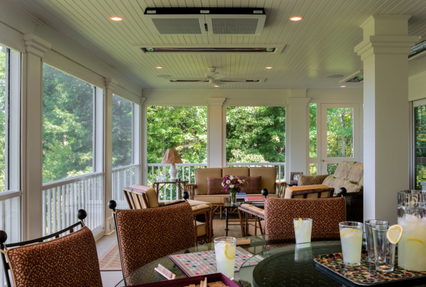 3 Season Room with Heaters in Ceiling and Roller Screens