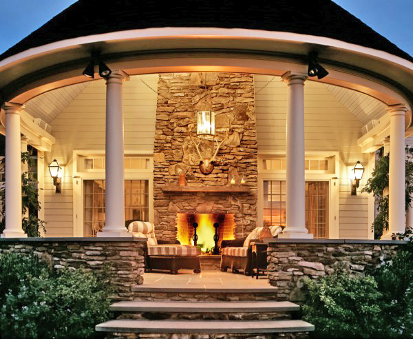 Curved Porch With Fireplace