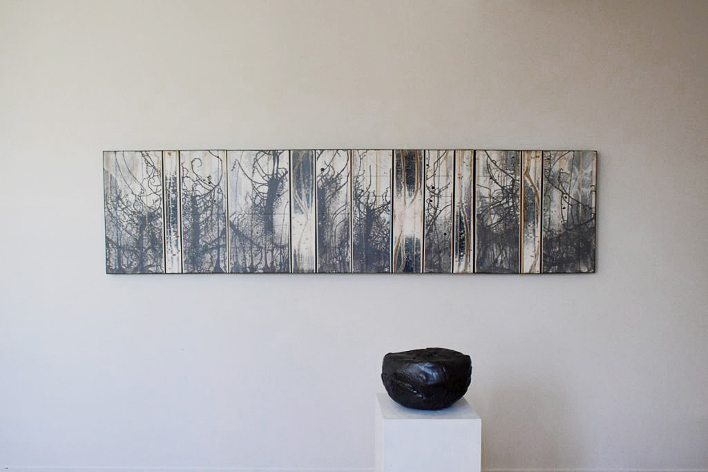 """Michael Kessler,  Greywoods I , acrylic on panel, 24″ x 96″; Ann Mallory,  Contemplation Form,  high-fired ceramic.          Normal    0                false    false    false       EN-US    X-NONE    X-NONE                                                                                                                                                                                                                                                                                                                                                                                                                                                                                                                                                                                                                                                                                                                                                                                                                                                                                                                                                                                                                                                                                                                                                                                                                                                         /* Style Definitions */  table.MsoNormalTable {mso-style-name:""""Table Normal""""; mso-tstyle-rowband-size:0; mso-tstyle-colband-size:0; mso-style-noshow:yes; mso-style-priority:99; mso-style-parent:""""""""; mso-padding-alt:0in 5.4pt 0in 5.4pt; mso-para-margin-top:0in; mso-para-margin-right:0in; mso-para-margin-bottom:8.0pt; mso-para-margin-left:0in; line-height:107%; mso-pagination:widow-orphan; font-size:11.0pt; font-family:""""Calibri"""",sans-serif; mso-ascii-font-family:Calibri; mso-ascii-theme-font:minor-latin; mso-hansi-font-family:Calibri; mso-hansi-theme-font:minor-latin;}"""