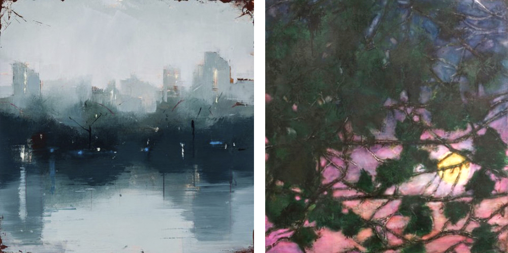 Left to right: Lisa Breslow,  Norturne 1,  oil on panel, 12 x 12 inches; Katherine Bowling,  Moon Leaves,  oil on spackle on wood panel, 36 x 34 inches.