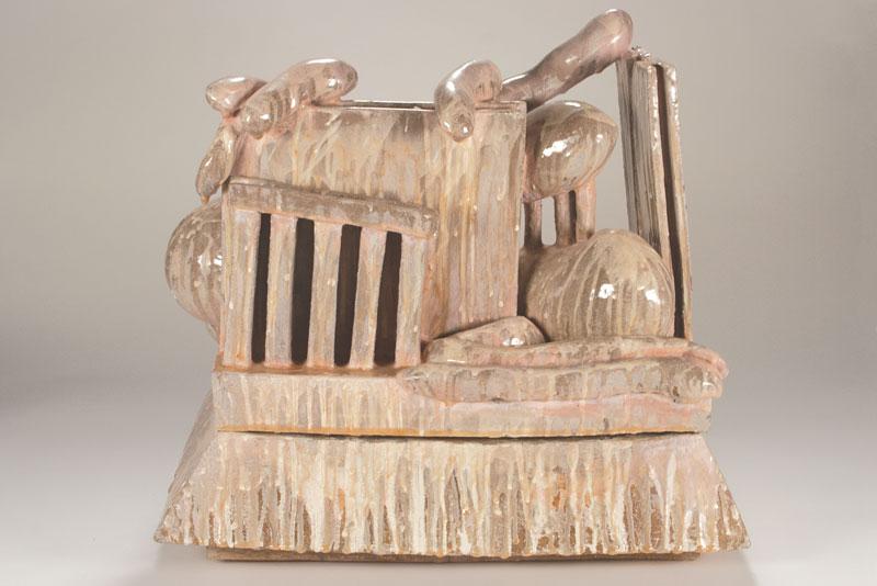 58cm W; 56cm H; 36cm D  Hand Built, Glazed Stoneware, Cone 6 Oxidation