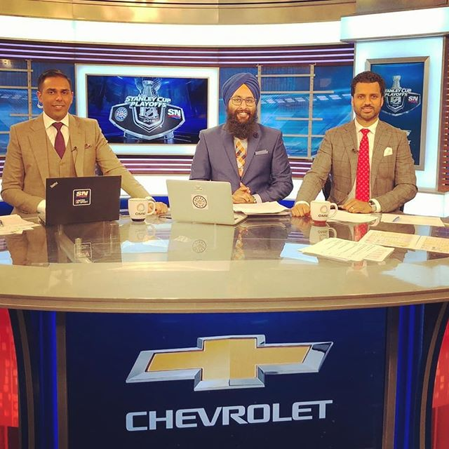 As a viewer asked, no, I am not wearing New York Islanders colours LOL. April is #Sikh Heritage Month and I celebrated #Vaisakhi wearing the traditional colours of blue and orange (neela and kesri) on #HockeyNightPunjabi.  My colleagues and I also had the chance to be at the #OMNI T.V. tent at the #Vaisakhi #NagarKirtan in #YVR. Brrr it was cold and rainy!