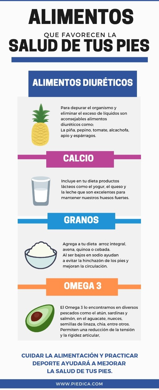 alimentos que favorecen la salud de tus pies