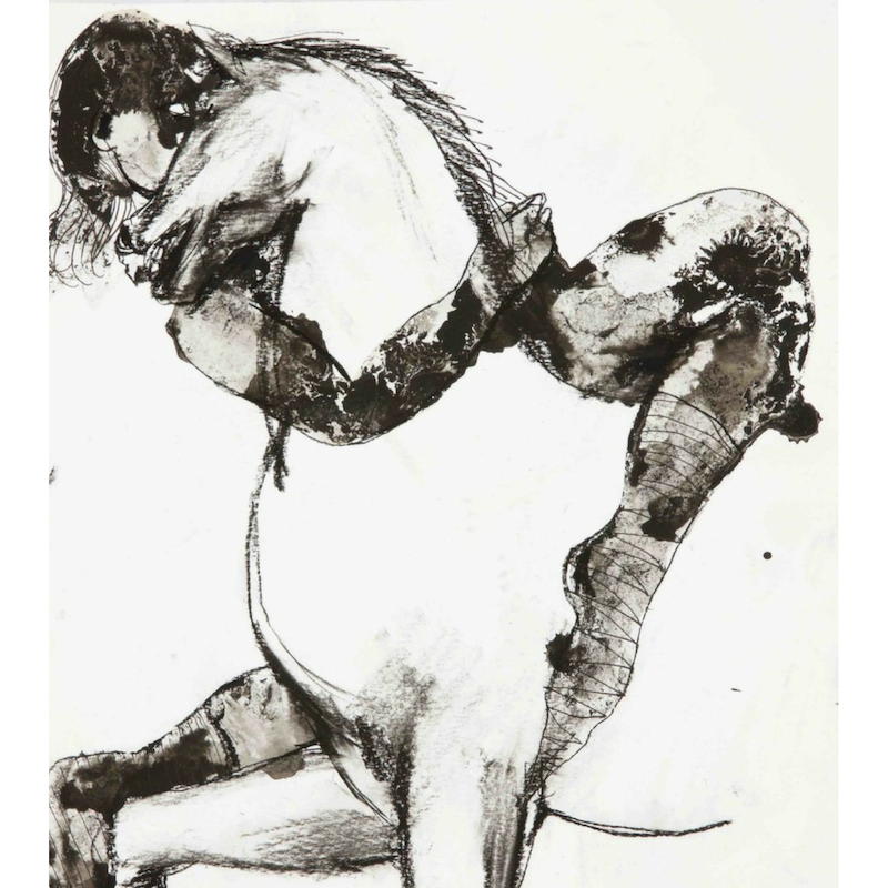 Horse & Muse, 2017, mixed media on paper, drawing, wine & ink