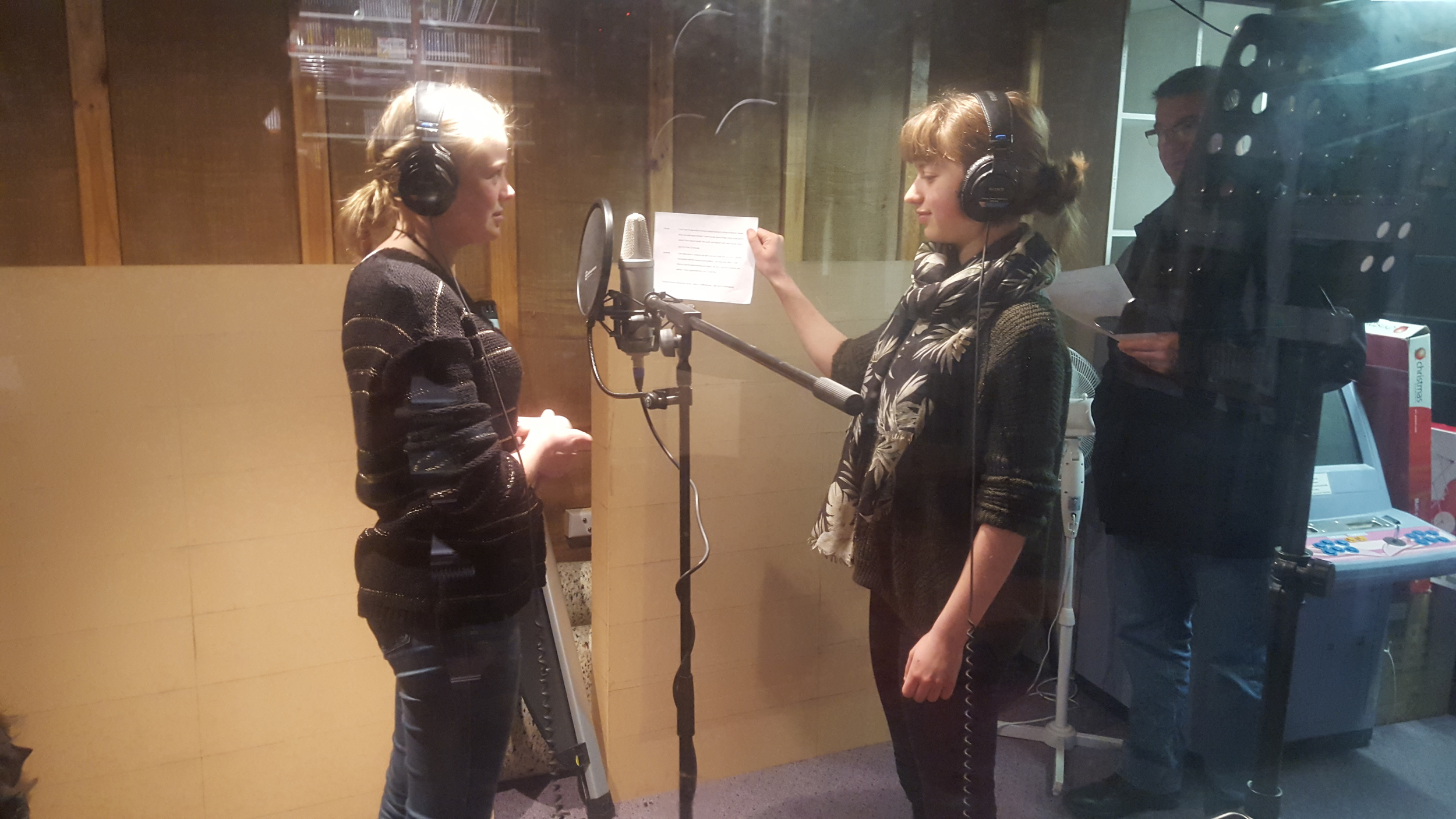 Kirrily and Hannah in the i98 recording studio