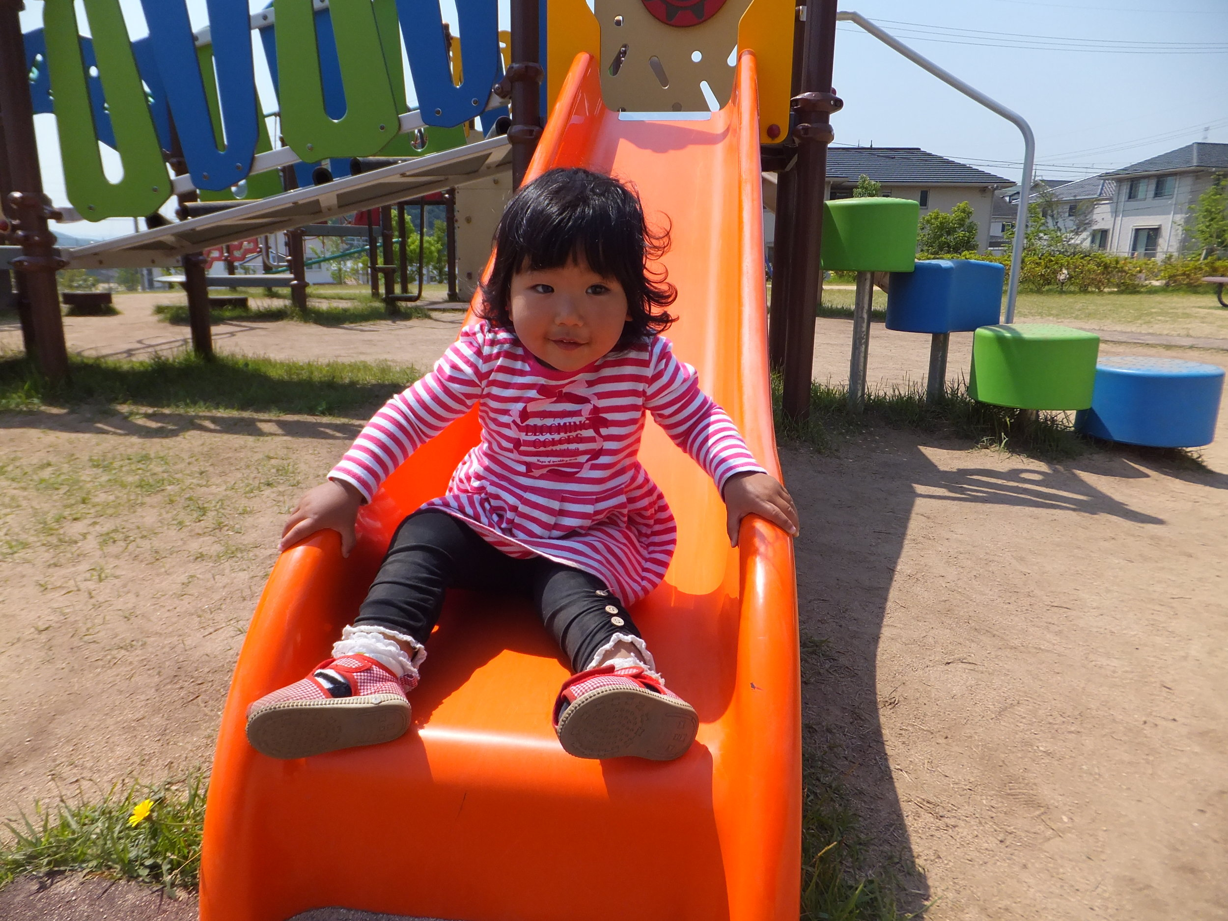 She went down the big girl slide on her own! I'm so proud of her!