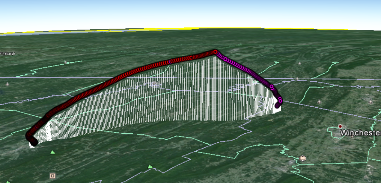In-Flight Recording of EFT-5's path through West Virginia.