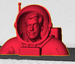 The awesome folks at MakerBot supplied a 3D printed head of Colbert in an astronaut suit for the near-space footage.
