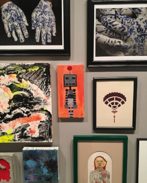 """Zachary Eric Federbush, The Robot  (in center, (2016, Acrylic on canvas, 12"""" x 6""""))in """"Small Works"""" installation (center image)"""