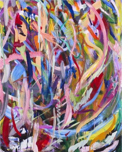 "Zachary Eric Federbush,  To Cat, Love Bear , 2017, Acrylic and Ink on canvas, 45"" x 36"""