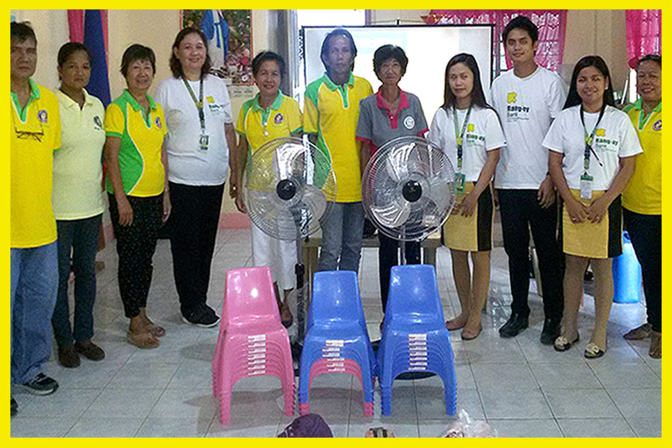 Donation of stand fans and mini-mono block chairs for Tavora Proper Day Care Center headed by Brgy. Kagawad Soledad Omaeng.