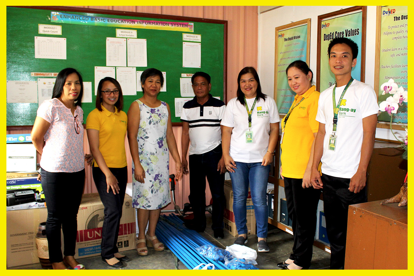 Turn-over ceremony led by Area Manager Winnie Mingaracal and Balaoan Branch Manager Leah Mantilla with Marketing Officer Florence Joy Licudine.
