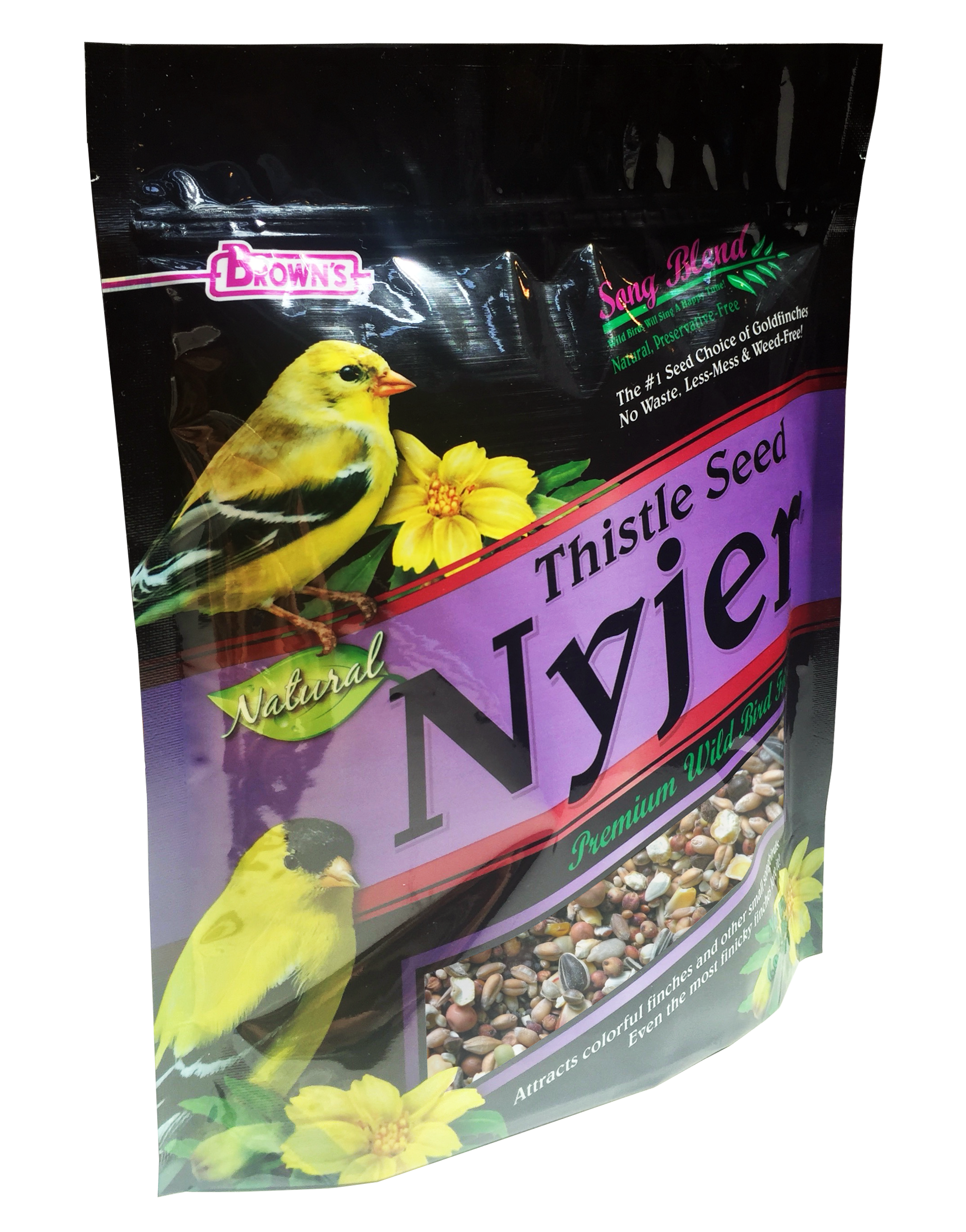 Bottom Gusset Stand-up pouch for bird seed, with vent hole and resealable zipper