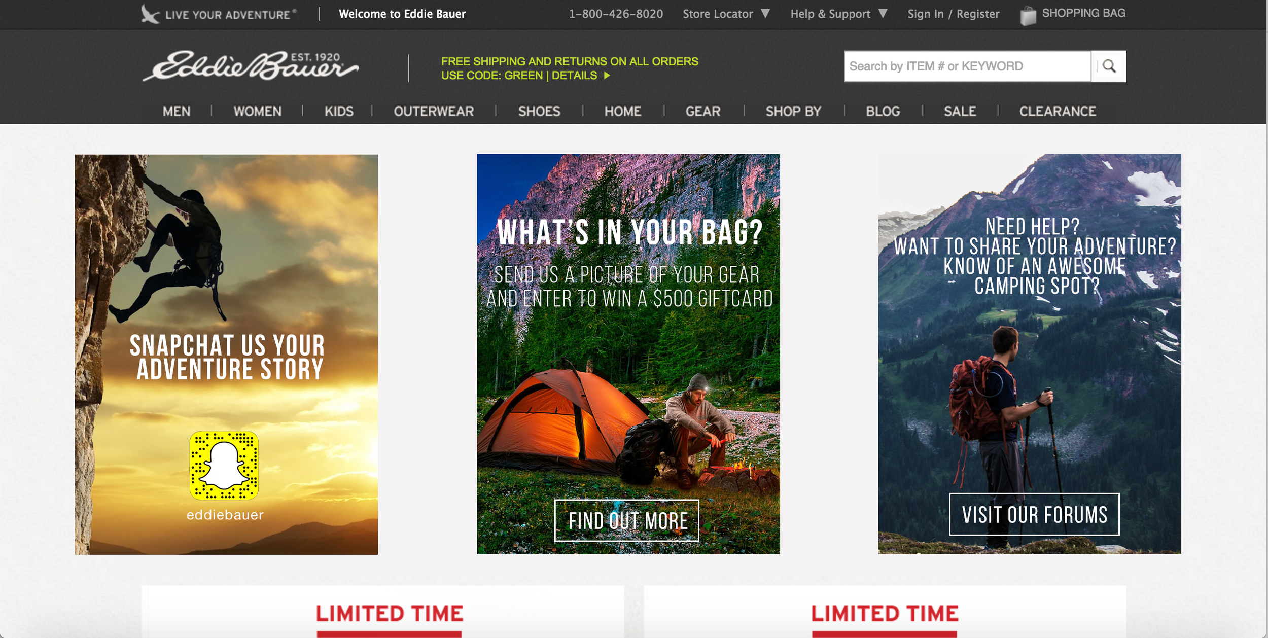 User Generated Content Spots for Eddie Bauer