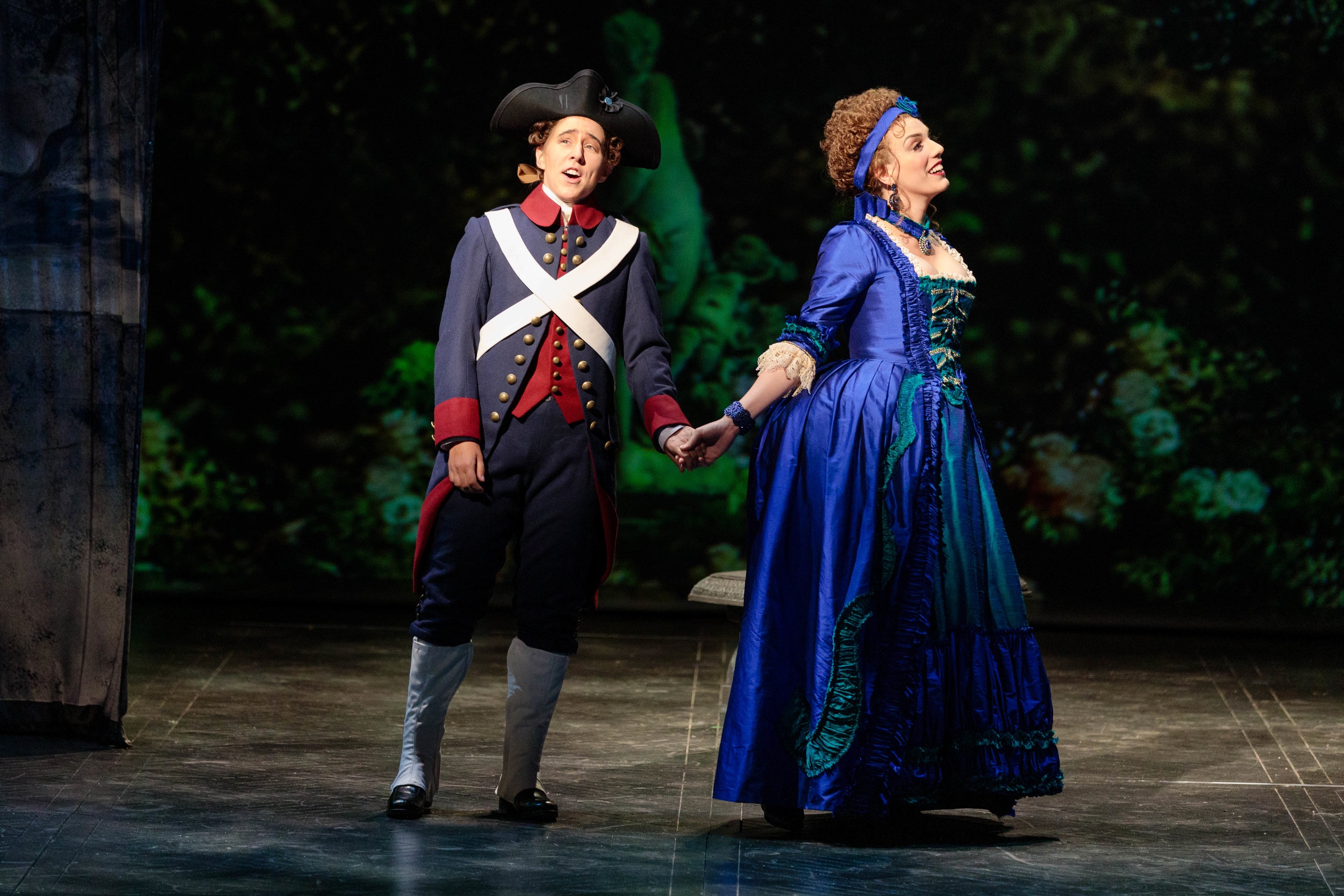 """The Glimmerglass Festival '19 - """"Standouts included the theatrically astute tenor Christian Sanders, as Bégearss, the cartoon villain in Beaumarchais's opera, who has two lengthy, vehement arias about vermin, and mezzo Katherine Maysek (Cherubino), who shone in her single scene, romancing Rosina ( Joanna Latini ) as part of the aforementioned love quartet."""" - The Wall Street Journal"""" … soprano Joanna Latini made an elegant Rosina. Her duet with Cherubino (mezzo Katherine Maysek), """"Look at the green here in the glade"""", was ravishing."""" - BachTrack""""Joanna Lantini and Katherine Maysek stood out as Rosina and Cherubino."""" - ConcertoNet""""Katherine Maysek's substantial, throbbing mezzo served the role of Cherubino well, and she paired luminously with Ms. Latini in a fetching duet."""" - OperaTodayPhoto: Karli Cadel"""