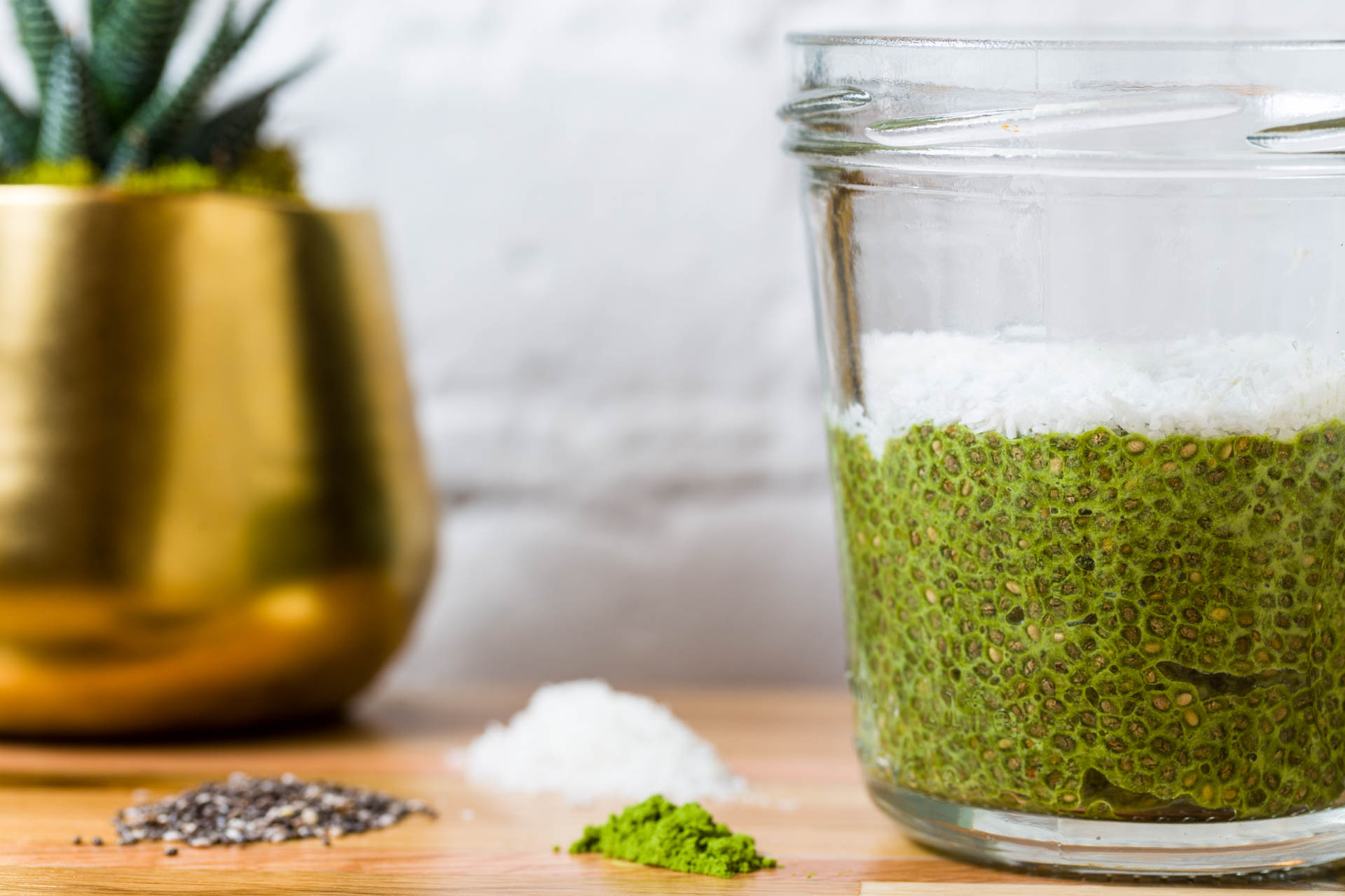 Green is great. Matcha + Chia + Coconut = a powerful day starter.