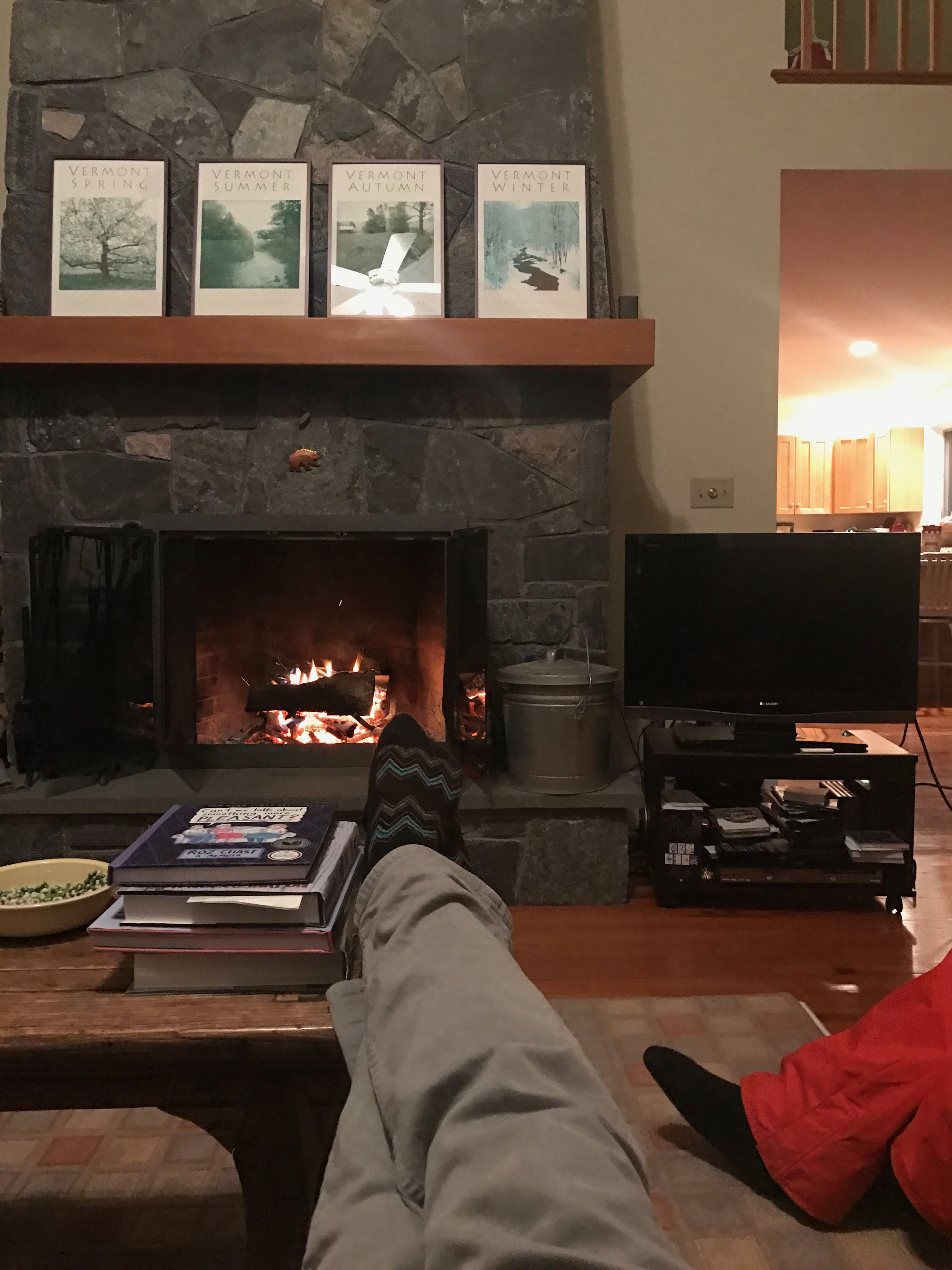 Lounging by the fire, the best winter activity.