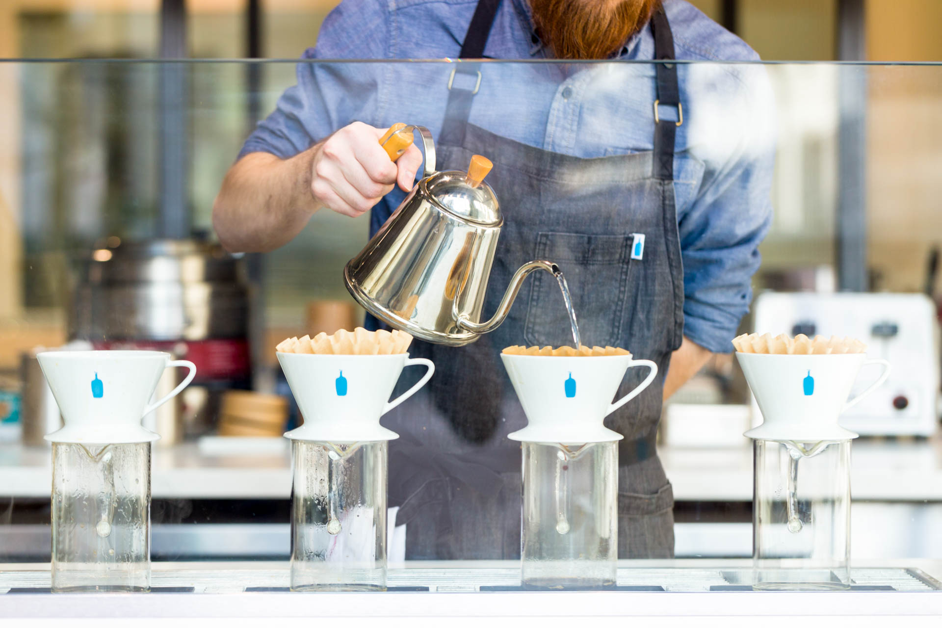 Pour-over action at blue bottle coffee