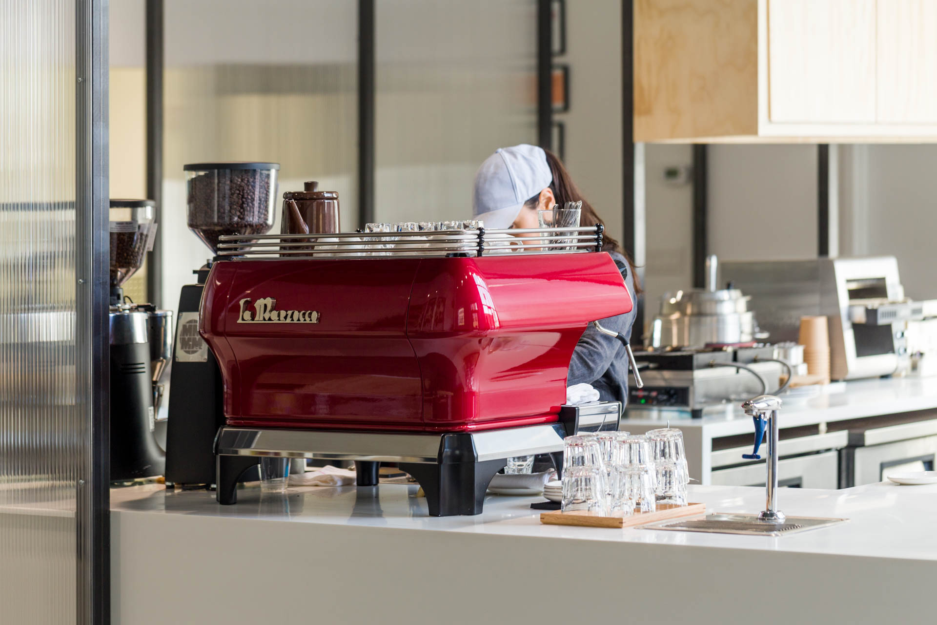 A La Marzocco FB80 gleaming on the counter is a pretty sure sign that you'll be sipping a fine espresso.