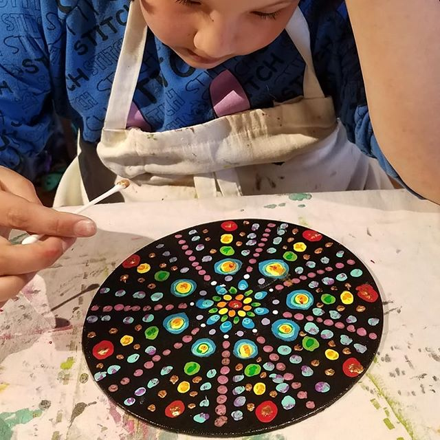 Spring Break Art Club! Mandalas, t-shirt designs and underground worlds.  #demandmoreart #montessori #painting #mandala #undergroundworld #design  https://kapowartnow.com/for-kids