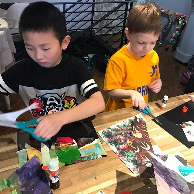 Working away at spring break craft camp! #childartist #montessori #artcamp #painting #drawing #weaving #gluing #arranging #iloveart