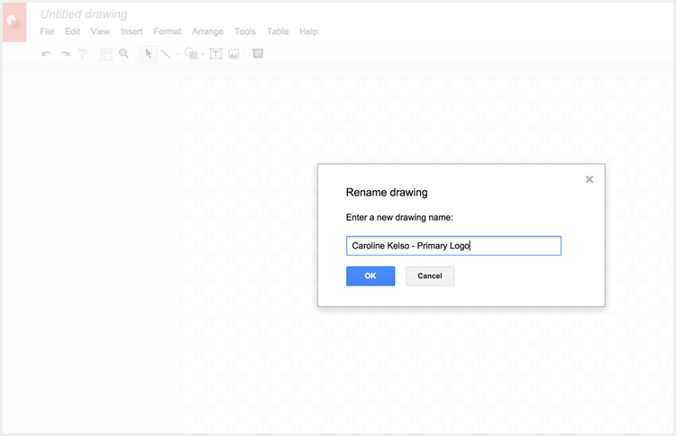 Setting up Google Drawings to create a logo without Photoshop