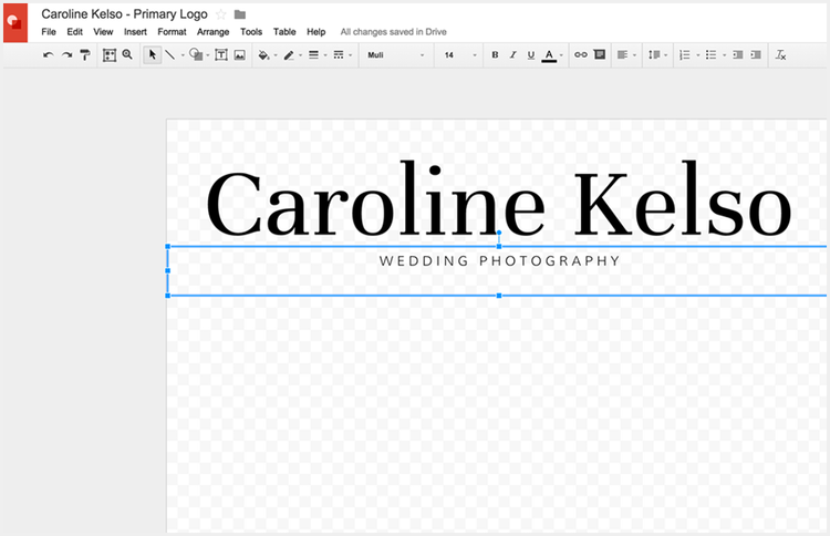 Adjust the size of your logo you're creating without Photoshop