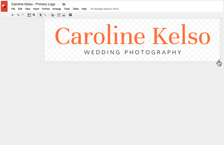 A cropped logo in Google Drawings, not using Photoshop