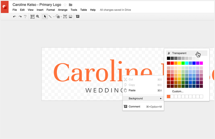 Setting a transparent background for your logo in Google Drawings