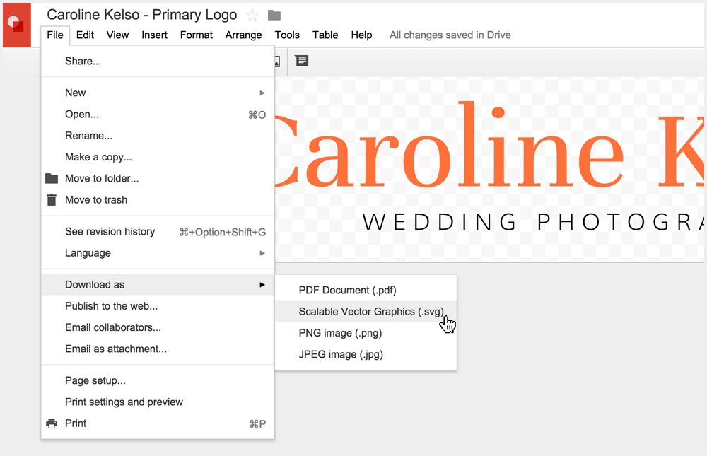 Creating a logo in Google Drawings