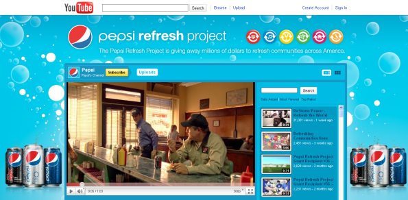 Remember the Pepsi Refresh Project? This was their custom YouTube Channel.