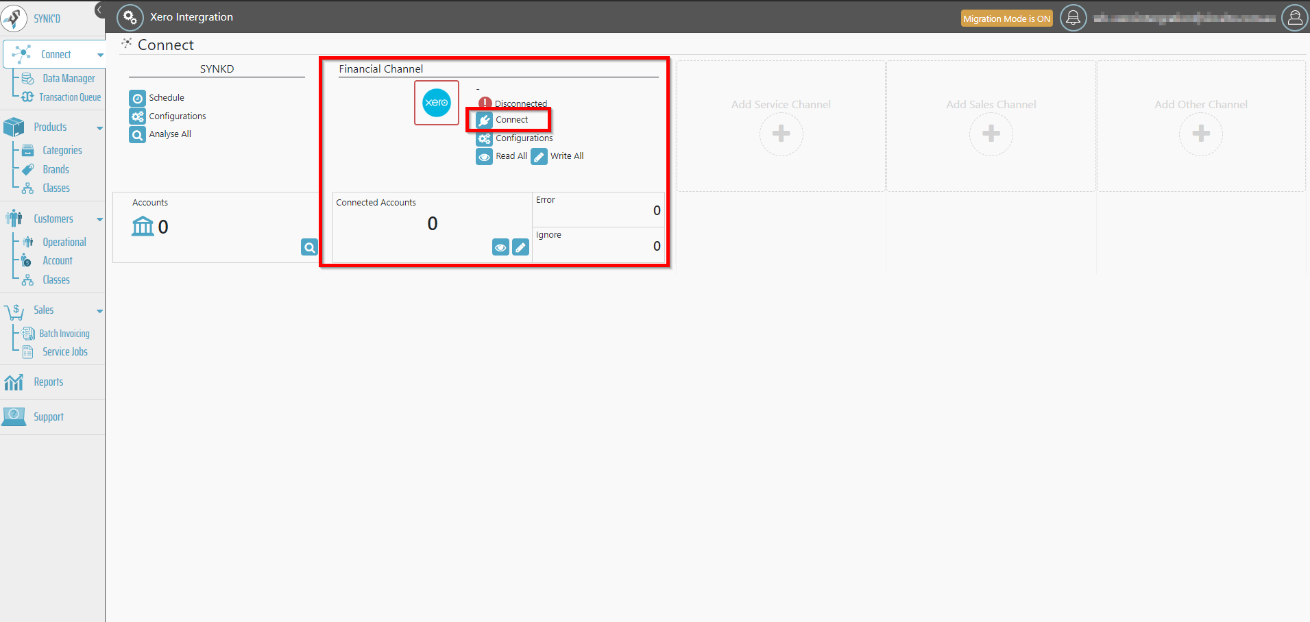 - 4. Once the Xero adapter is connected. Select the connect option to begin connecting your Xero account.
