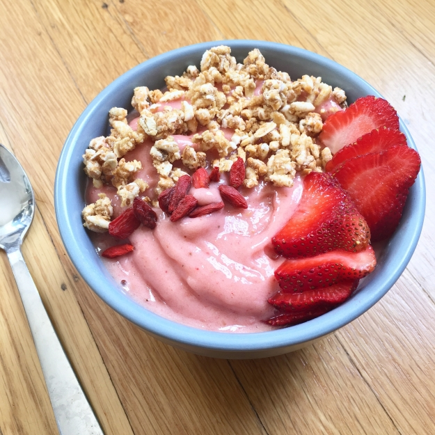 Stawberry, pineapple, banana smoothie bowl. Gorgeous, isn't it?